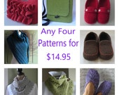 Knitting Patterns - shawl slippers cowl felted bag scarf blanket - Any four for 13.95 from Lavender Hill Knits -  your choice