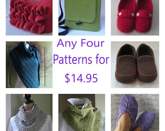Knitting Patterns - shawl slippers cowl felted bag scarf blanket - Any four for 14.95 from Lavender Hill Knits -  your choice