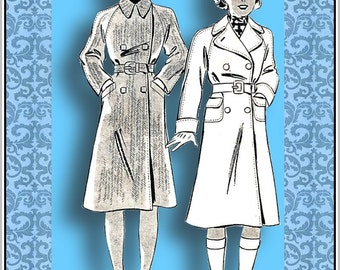 Vintage 1930s-Young Ladies ADVENTURE COAT-HAT Sewing Pattern-Two Styles-Double Breasted-Tailored-Raglan Sleeves-Pockets-Belt-Size 32-Rare