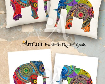 2 Printable Images PAISLEY ELEPHANTS Digital Sheets to print on fabric / paper, Iron On Transfer for totes t-shirts pillows home decor