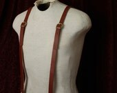 Leather Suspenders- wedding mens clip brown black steampunk Y back-women's unisex suspender Browncoat, Brown or Black Braces MyFunkyCamelot