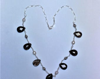 Smoky Quartz and Freshwater Pearl Teardrop Necklace