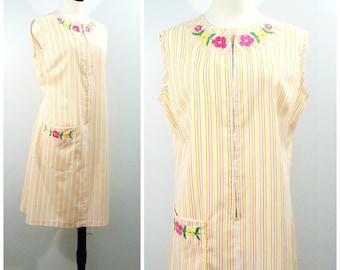 Vintage House Dress, 60s Cotton Stripe Summer Housedress, Floral Embroidered Cotton Zip Front Dress, Light Weight Sleeveless Summer Dress