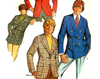 Mens Chest 42 Lined Blazer Jacket Notched Collar front Button Closing Simplicity 9598 Sewing Pattern  Uncut Factory Folded