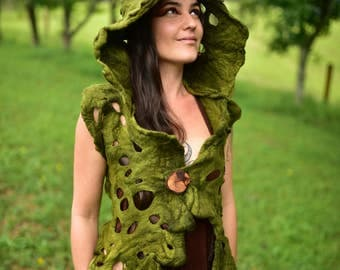 Felt Hooded Vest-Tree Roots Top-Woodland Costume-Nymph Princess Of The Forest Moss Green Vest-Druid Costume-Pixie Vest-HoodieOOAK