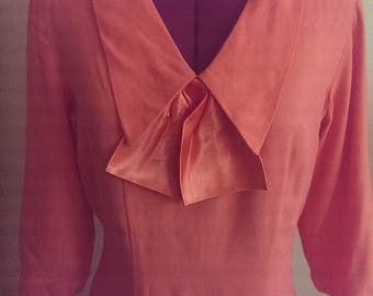 Early 1960s Mad Men Style Light Weight Coral Wool Wiggle Dress