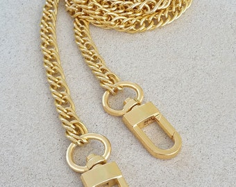 "Double Curb Chain - GOLD Chain Handbag Strap - 3/8"" Wide - Your Choice of Length & Clips"