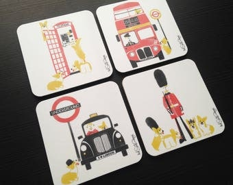Corgi Coaster Set / Dog Coasters / London Coasters / Fathers Day Gift / Melamine Cork Backed Coasters / Drink Coaster Set