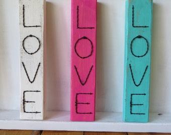 Love, Wire, Word Sign, Wood, Handmade