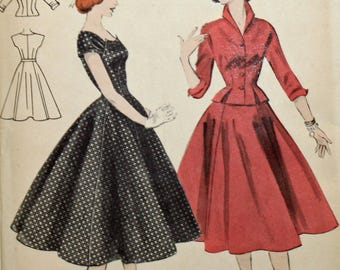 Vintage 1950s Sewing Pattern, Butterick 7138, Misses' Flare-Skirted Dress and Jacket, Misses' Size 14, UNCUT, FF