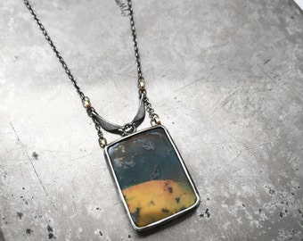 Australian Boulder Opal necklace in sterling silver with 14k yellow gold details