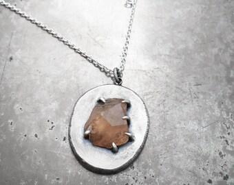Natural Grossular Garnet Crystal on Ingot Necklace