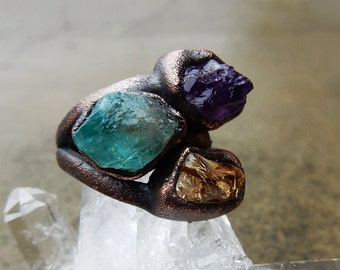 Multi Stone Ring with Rough Citrine, Amethyst, and Blue Apatite for Abundance, Meditation, and Spiritual Guidance, Size 6