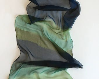 Stripes Silk Chiffon scarf, Olive Green and Navy scarf, Hand painted scarf, Lightweight scarf, Dark blue scarf, Gothic accessory, gift mom