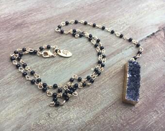 Black Druzy Bar Necklace, Black Spinel Y Necklace, Onyx Rosary Necklace, Black Agate Necklace, Druzy Rosary Necklace, Black Spinel Rosary