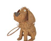R E S E R V E D final payment  1950s wicker dog purse / mid century figural handbag / 50s puppy novelty bag .