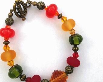 Autumn / Fall Colours Lampwork Bead Bracelet
