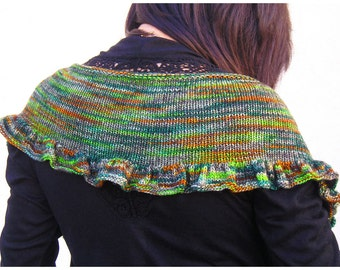 Ruffle Scarf Shawl Shawlette, Fichu Style, Hand Knit Merino Wool, 6 Color Options