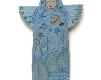 Angel, Handmade Ceramic Angel, Home Decor, wall art, stars, moon