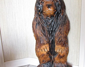 """Vtg Standing Bear Chainsaw Hand Carved  32"""" Sculpture Signed By Master Carver/ Rustic Home/Cabin Decor"""