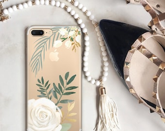 iPhone 7 Case Clear Floral iPhone X Case Watercolor Roses iPhone 8 Plus Case White Rose iPhone 6S Plus, SE Gift for Her, Women, Blogger