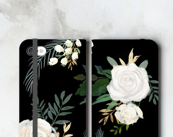 One Floral iPhone 7 Wallet Case Watercolor White Roses on Black, iPhone 6S Plus Womens Wallet, iPhone 7 Plus Wallet Case