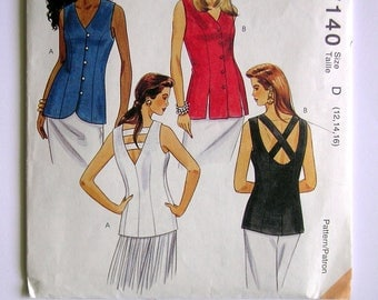 Misses' Sleeveless Tops - McCalls 7140 - Vintage Sewing Pattern, Sizes 12, 14, 16