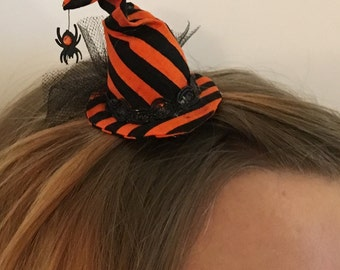 Mini Witch Hat - Orange / Black Stripes with Hanging Spider - Halloween