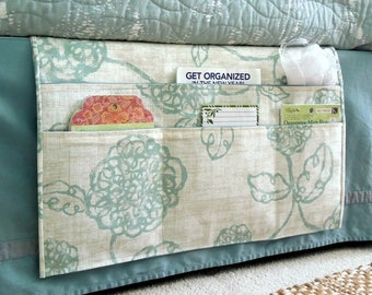 Bedside Organizing Caddy in a Blue and Cream Floral Design