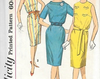 Simplicity 3869 UNCUT 1960s Sleeveless Sheath Dress Vintage Sewing Pattern Size 12 Bust 32 Wiggle Dress