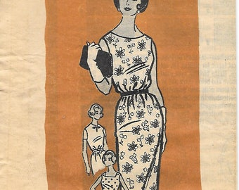 Marian Martin 9161 1960s Fitted Sleeveless Sheath Dress Vintage Sewing Pattern Size 14 Bust 34 Wiggle Dress Mad Men