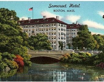 Vintage Boston Postcard - The Somerset Hotel on Commonwealth Avenue (Unused)