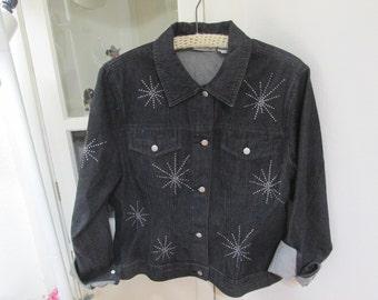 Black Jean Jacket Studded Denim Vintage Size 12 Newport News Jeanology Bling