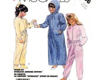 Girls Robe Pajama & Booties Pattern McCalls 2836 Hooded Robe, One Piece Pajamas Booties Tween Girl Sewing Pattern Size 12 14 UNCUT