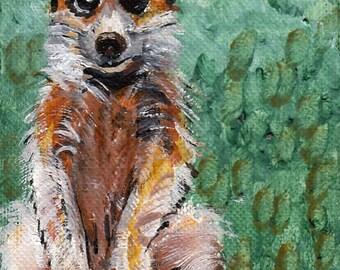 ACEO Print Download, Meerkat, Civete, Suricate, Mongoose Family, Furry Animal Oil Painting