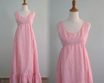 Pretty 60s Pink Gingham Maxi Dress by Emma Domb - Vintage Pink Emma Domb Dress - Vintage 1960s Dress S M