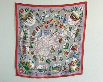 Vintage 60s Deutschland Tourist Scarf - Vintage German Map Silk Scarf - Vintage 1960s Scarf