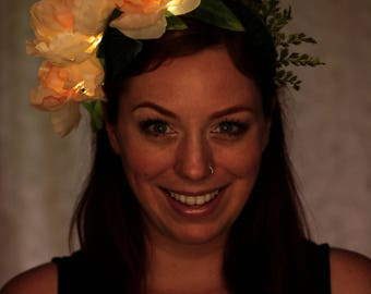 Fairy light flower crown. Blush peony blooms with teeny glowing lights. Fairy or elf cosplay forest costume  lb002