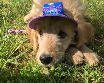Dog Hat/Visor and Collar Flower Set Sz XS S M