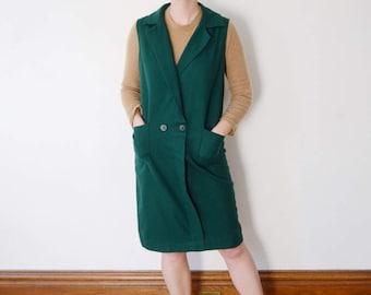 1960 Green Wool Shift Dress - M
