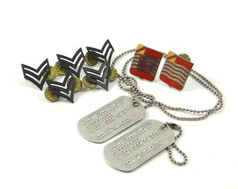 Military Sargent Pins and Dog Tags from Vietnam War