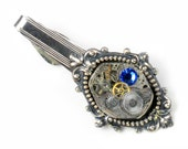 Steampunk Vintage Watch Movement & Sapphire Crystal Tie Bar Alligater Clip