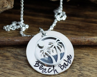 Beach Necklace, Beach Babe Jewelry, Palm Tree Necklace, Personalized Necklace, Hand Stamped Jewelry, Beach Girl Necklace, Beach Lover