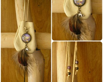 "Bear Spirit Maiden buckskin leather pouch with feathers, bear & glass charms, 36"" long beaded, adjustable cord, pouch is 3"" x 2.5"""