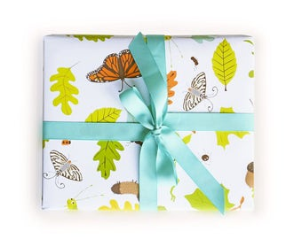 Wrapping Paper forest bugs critters Gift Wrap - Birthday wrapping paper for boys and girls