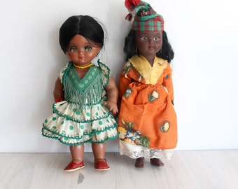 Two Vintage Souvenir International Travel Dolls Collection Barbados Spain 70's