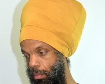 Men- Mustard Stretch Hat - Locs Hat - Rasta Hat - 5 Length Options