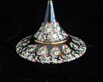 Floral Enamel Lidded Hand-made and Artist Signed  Made in Greece 24k gold  Vanity Dish Display Beautiful!!!
