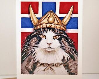 Cat Greeting card, Viking Norwegian Forest Cat blank greeting card Viking Wegie red white blue flag