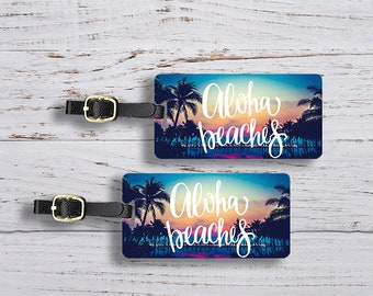 Luggage Tag Set Aloha beaches Bright Sunset Sky Metal Luggage Tag Set With Printed Custom Info On Back, 2 Tags Choice of Straps